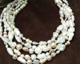 Five strand assorted freshwater pearl necklace