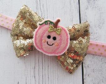 Pink Gold Pumpkin Bow Headband for Baby Girl - first thanksgiving, cutest pumpkin in the patch, baby girl pumpkin bow
