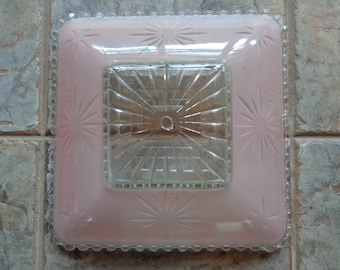 Vintage Square Pink Frosted Candlewick Ceiling Light Fixture Glass Shade