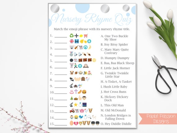 Emoji nursery rhyme quiz blue and silver baby shower game emoji nursery rhyme quiz blue and silver baby shower game baby boy polka dot printable game 21silverb fandeluxe Choice Image