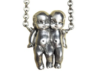 Gemini Zodiac Necklace       sign conjoined twins jewelry silver gold