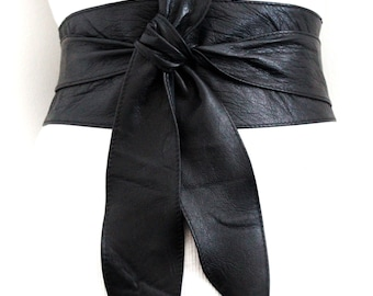 Black Obi Belt | | Sash Belt | Plus Size Wide Belt | Leather Corset Belt | Wrap Belt | Leather Obi Belt | Wide Waist Belt | Leather Tie Belt
