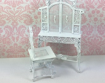 MINIATURE DESK and CHAIR, White Metal and Wire Set, 1:12 Scale, Victorian Wicker Style, Vintage Dollhouse Furniture
