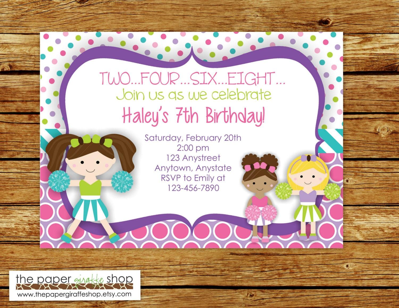 Cheerleader Invitation Cheerleader Birthday Invitation