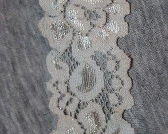 """5 yards White stretch galloon baby headband garter sewing lace 1.5"""" wide"""