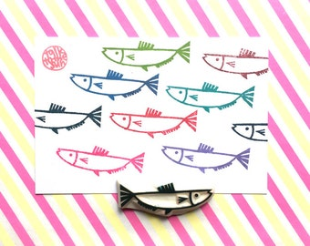 fish rubber stamp   under the sea   ocean stamp   summer crafts   birthday scrapbooking   diy gift wrapping   hand carved by talktothesun