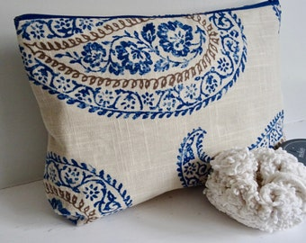 Large Cosmetic Bag Blue Taupe Stone Paisley