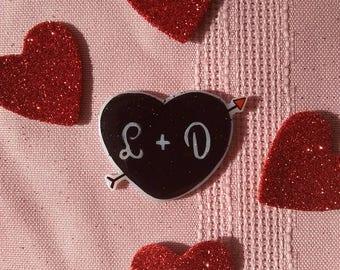 Custom heart Valentine pin, brooch
