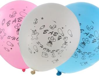 "12"" Baby Shower Latex Balloons (12) Globos para  Baby Shower de  Latex"
