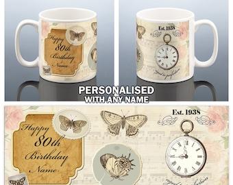 80th Birthday Mug for her 80th BIRTHDAY GIFT for Her 1938 Birthday Cup Butterfly Present Mum Nan Nana Grandma Aunt Ladies Coffee Mug Tea Mug