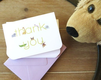 Zoo animal thank you cards, thank you notes for kids, children's stationery, custom stationery, baby shower thank you card, zoo friends card