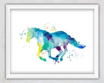 Horse Print, Nursery Art print, Animal Poster ,Watercolor Wall Print nursery, Download Printable Art, Kids Room Decor, Nursery Animal Print