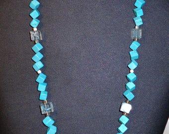 Turquoise Howlite Handmade Bead Necklace