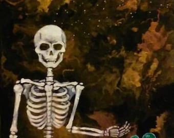 Print of 8 x 10 acrylic skeleton painting
