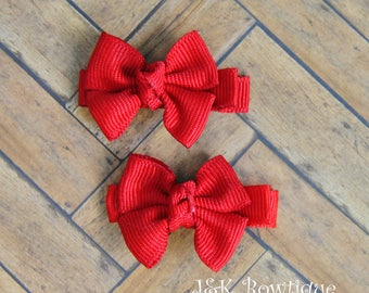 Red Hair Bows, red hair clips, red hair bow, bow set, alligator clips, Red Baby Hair clips, Toddler Girl Hair Clip, baby bows, holiday bows