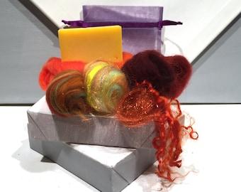 Orange Lavender Felted Soap Kit, DIY gift, DIY Felt Craft Kit, Wet Felting, Make felted soap, Beginner Felting, color choices, Organic Soap