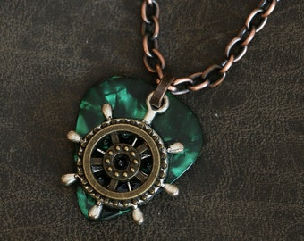 Guitar Pick Necklace  - Geared Ship's Wheel