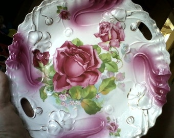 Sale-Antique P S Germany Pink Roses Plate