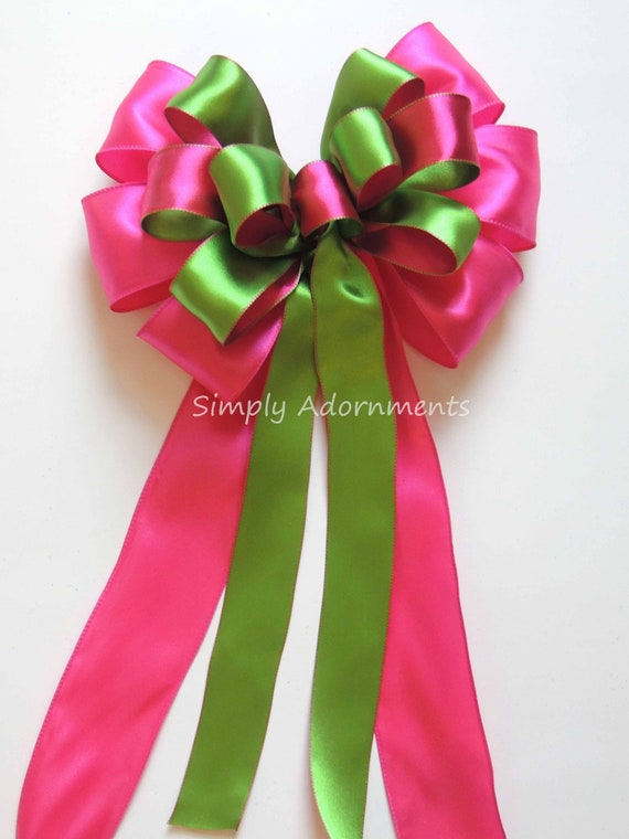 Pink Green Spring Plaid Wreath Bow Wedding Church Aisle Pew Bow Pink Green tartan Bridal Shower Decor Pink Green Birthday Party Decor Gift