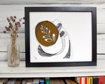 Coffee art print. Latte in pen and ink.