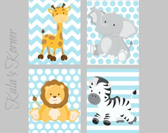 JUNGLE NURSERY ART -  Jungle Nursery Decor, safari nursery, giraffe, zebra, lion, elephant, playroom art- children wall art - boy nursery