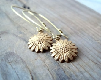 Brass Daisy Earrings Nature Inspired Whimsical Brass Jewelry Flower Jewelry Floral Jewelry Nature Inspired Gold Earrings Gifts Under 20