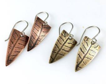 Fern Earrings, Copper or Brass, Pressed Fern Earrings