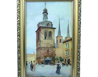 V. Jansa (Czech) Print Photo-Chromotype  Old Prague St. Peter Signed Framed Vintage 1900-1910