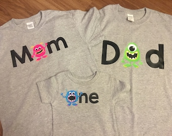 One Shirt - Family shirts - Monster theme - for birthday party - Monster Birthday - Set of Shirts for Kids, Babies, and Adults - Custom