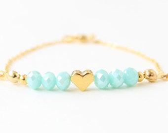 Heart bracelet, valentine's day gift for her, gold heart, valentine gift, heart jewelry, seafoam crystal, dainty bracelet, best friend gift