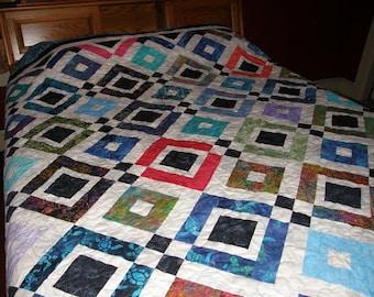 Sale - Queen Quilt Modern, Contemporary Queen Quilt, Rainbow Queen Quilt, Quilted Queen Batik Blanket, Queen Batik Quilt, Quiltsy Handmade