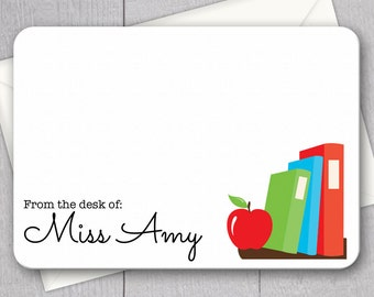 Teacher Note Cards - 12pk, Personalized Flat Note Cards, Language Arts Teacher Gifts, Printed with Envelopes (NC-002)