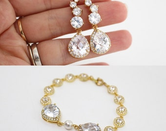 Gold Bridal Jewelry Set, Cubic Zirconia Bridal Jewelry, Jewelry Wedding Set, Cubic Zirconia Earrings and Bracelet, Gold Wedding Jewelry