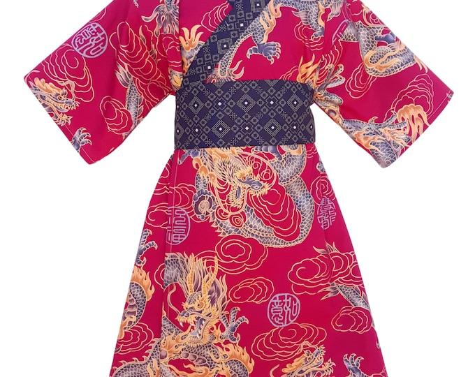 Kimono Dress RED DRAGON Yukata Modern Kimono Girls Baby Toddler Japanese
