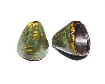 Ceramic Bell Cone Earring Cone Charms Pair Rustic