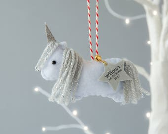 Unicorn Christmas Decoration - Unicorn Ornament - Mini Unicorn - Personalised Decoration - Baby's First Christmas Gift - Unicorn Gift