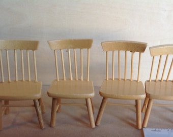 4 Dollhouse Miniature Chairs