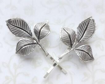 Silver Rose Leaf Bobby Pins, Set of Two, Hair Pins, Bridesmaid Gift, Garden Wedding, Woodland, Hair Grip, Vintage Bridal, Summer, Boho