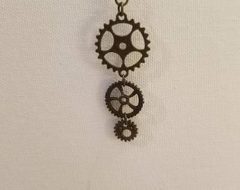 Steampunk Gear Drop Earrings- Cogs and Gears