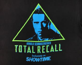 Total Recall 1990 Tshirt Movie Vtg 90s Arnold Schwarzenegger Shirt Promo Showtime Exclusive Terminator Film Rare Iconic 1990s Large Tee