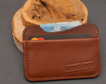 Credit card holder. Leather credit card wallet. Two slot wallet.  Brown leather wallet.