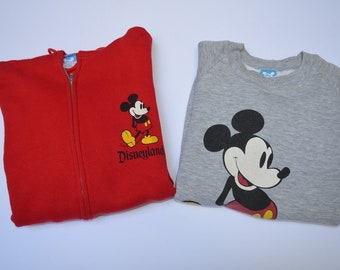 Lot of 2 Vintage 1980s Disney Mickey Mouse USA made XL sweatshirt & zipup hoodie