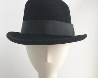 Classic Black Fedora Hat with Wide Black Ribbon Trim