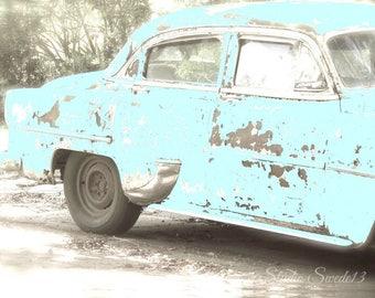 """Old Car Photo, Retro Blue Car Print, Vintage Car Art, Antique Car Print, Aqua Art, Retro Art, Rustic Man Cave Art- """"True Blue Friend"""""""