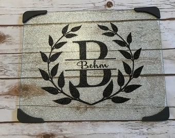 Personalized Glass Cutting Board Wedding Shower Gift