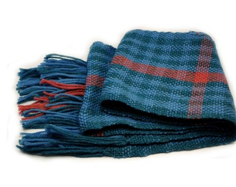 Blue & Pink Plaid Handwoven Scarf