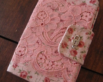 Spring Romance - Pink Lace over Pink Floral - Smaller Size Clutch - FINAL SUPER SALE!!!