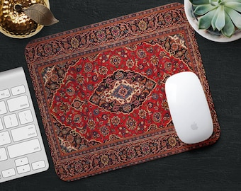Mouse Pad Rug Mousepad Red Mat Persian Carpet Desk Accessories Round
