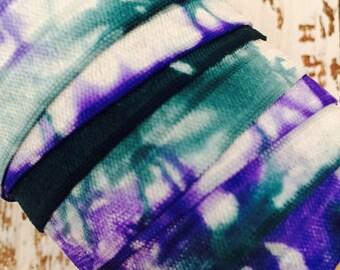 """Tie Dye FOE // 5/8"""" Teal-Violet-White Tie Dye Fold Over Elastic - Hair Ties - Headbands - Tie Dye Hair Ties"""