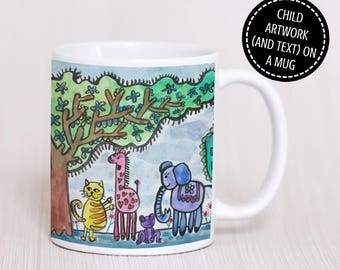 Your Child's Artwork Mug - Gwaith Celf Plentyn ar Fwg - Personalised Mug - Child Keepsake - Gift for Grandparents - Gift for mum and dad